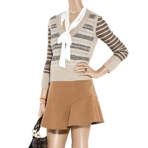 "Tory Burch ""Rieti"" Wool V-Neck Sweater Size XS"